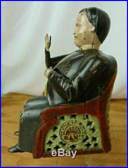 Antique 1873 JE Stevens Cast Iron Tammany Hall Boss Mechanical Penny Bank Toy