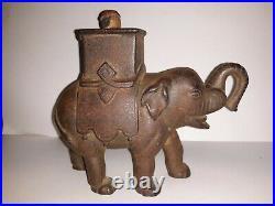 Antique 1880 Figural Elephant Cast Iron Mechanical Bank Howdah Man Enterprise PA