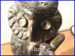 Antique 1880's Cast Iron Mechanical Owl Bank! Original Eyes Nice