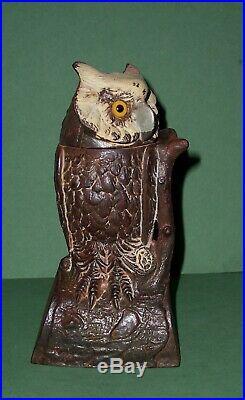 Antique 1880's Cast Iron Owl Bank J. E. Stevens Turns Head