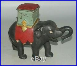 Antique 1880's Enterprise Cast Iron Mechanical Bank Elephant Man In Howdah
