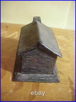 Antique 1882 CAST IRON LOG CABIN Still Penny BANK with Slot Under Roof