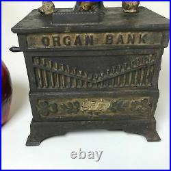 Antique 1882 Kyser & Rex Cast Iron Monkey Organ Mechanical Bank