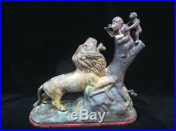 Antique 1883 Kyser & Rex Cast Iron LION & 2 Monkeys Mechanical Bank