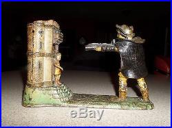 Antique 1886 J. E. Stevens WILLIAM TELL Cast Iron Mechanical Bank SUPERB Working