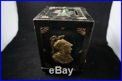 Antique 1890s J&E Stevens Watch Dog Safe Mechanical Cast Iron Bank Exc Paint
