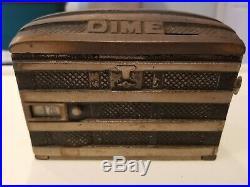 Antique 1891 Phoenix Saratoga Trunk Registering Dime Bank Cast Iron 5w x 3.5