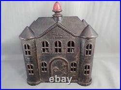 Antique 1894 Kyser Rex Cast Iron Villa Still Bank With Red Finial Pin Original