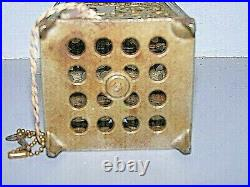 Antique 1896 Patent Cast Iron Ornate Safe Toy Size Still Bank Coin Metal with Key