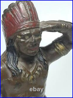 Antique 1915s Hubley Indian with Tomahawk Cast Iron Coin Still Bank 6in Tall