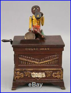 Antique 19thC KYSER & REX Cast Iron Monkey on Organ Mechanical Bank Org&Working