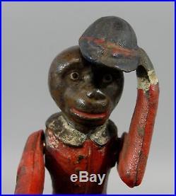 Antique 19thC Kyser & Rex Cast Iron Monkey Cat & Dog Organ Mechanical Bank NR