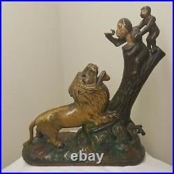 Antique 19thC Painted Cast Iron Kyser & Rex Mechanical Bank Lion & 2 Monkeys