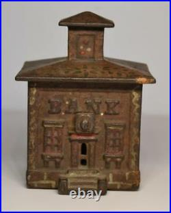 Antique 19th Century Cast Iron Bank Building House by J and E Stevens