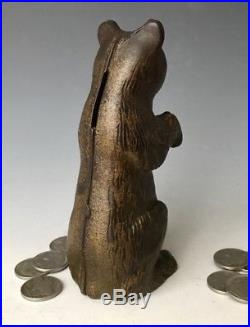 Antique AC Williams Arcade Cast Iron Begging Bear Still Penny Bank, Moore #715