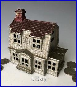 Antique AC Williams Cast Iron Colonial House Still Penny Bank #992, c. 1920