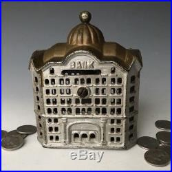 Antique AC Williams Cast Iron Gold Domed Building Still Penny Bank #1183, c. 1920