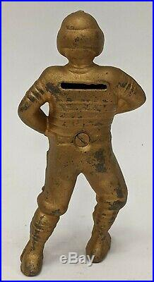 Antique A. C. Williams Football Player Cast Iron Still Penny Coin Bank Gold
