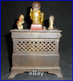 Antique American Cast Iron Mechanical Bank (Organ Bank) Original Paint Finish