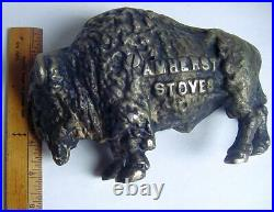 Antique Amherst Stoves Advertising Cast Iron Buffalo Coin Bank 3.75 lbs GC