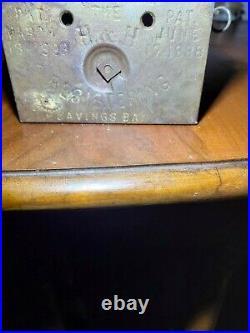 Antique Bank 1888 cast iron Works! Has original key
