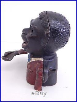 Antique Black Americana Cast Iron Jolly N Mechanical Bank JE Stevens Original