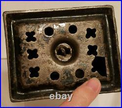 Antique CAST IRON LOG CABIN Penny Still BANK Building Coin Slot