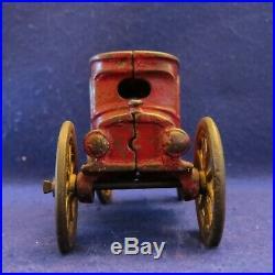 Antique Cast Iron AUTO with 3 PASSENGERS Sedan Toy Still Bank A. C. Williams c 1910