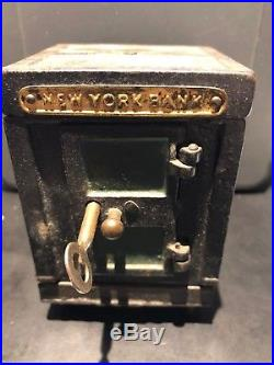 Antique Cast Iron And Metal New York Safe Bank With Key Coin Stiill Bank