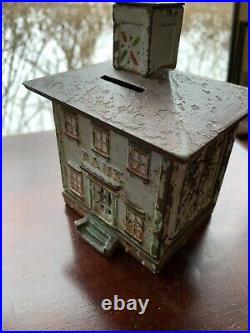 Antique Cast Iron Bank Building Cupola Still Bank AS IS