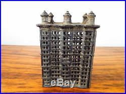 Antique Cast Iron Bank High Rise Tiered Building Piggy Money Box A C Williams