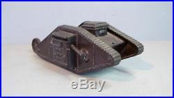 Antique Cast Iron Bank Tank Savings Bank by Ferrosteel