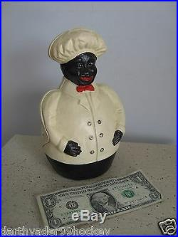 Antique Cast Iron Black Americana Jolly Chef Baker Cook Coin Still Bank Exc