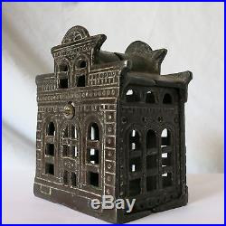 Antique Cast Iron CITY BANK withDIRECTOR'S ROOM ON TOP Marked! CHAMBERLAIN & HILL