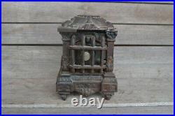 Antique Cast Iron Coin Bank Wood Burner Stove Klotz Mfg US patent 5.75 Toy