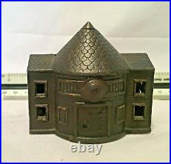 Antique Cast Iron Cone Topped Building Jail House 2-Story Bank by Kyser & Rex