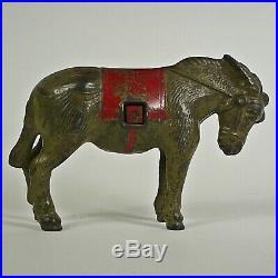 Antique Cast Iron Donkey Mule Still Bank with Blanket 1930s Kenton