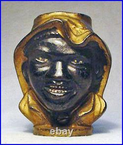 Antique Cast Iron Double-Faced Black Boy Coin Bank circa 1901-1919