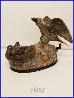 Antique Cast Iron Eagle & Eaglets Mechanical Bank by J & E Stevens c. 1883