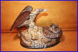 Antique Cast Iron Eagle & Eaglets Mechanical Bank by J & E Stevens cir. 1883