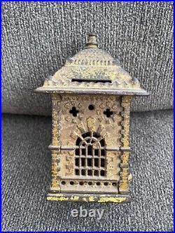 Antique Cast Iron Figural Still Bank Building 6 Tall 1890s Vintage Victorian