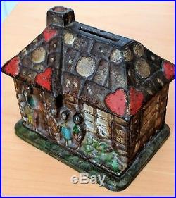 Antique Cast Iron Gingerbread House Building Still Bank