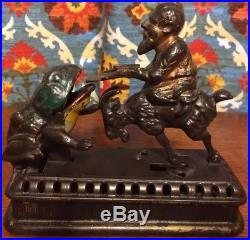 Antique Cast Iron Goat Frog & Old Man Initiating Bank Second Degree