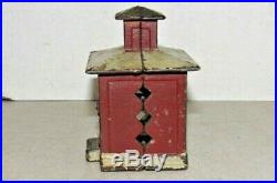 Antique Cast Iron Hand Painted Red & White Bank Building Still Bank