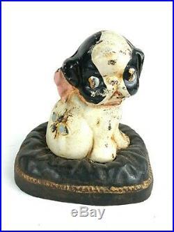 Antique Cast Iron Hubley Boston Terrier with Bee Puppy Bank Door Stop PUPPO Fido