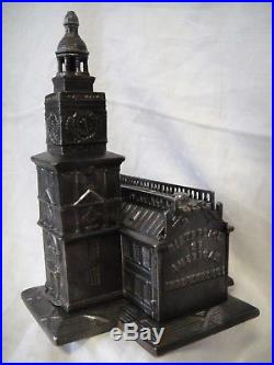 Antique Cast Iron Independence Hall Still Bank Enterprise 1875 8-1/4Tall