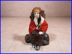 Antique Cast Iron Indian Chief Sitting Still Coin Bank Duke Original
