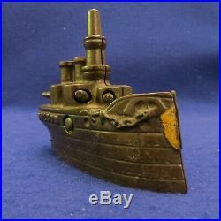 Antique Cast Iron J & E Stevens Oregon Battleship Still Bank Nautical Boat LOOK