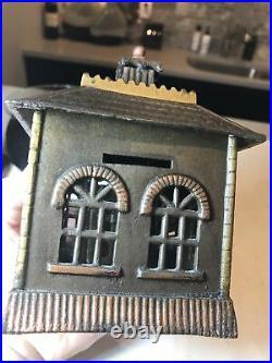 Antique Cast Iron Kenton State House Building Still Bank Nice Orig. Paint