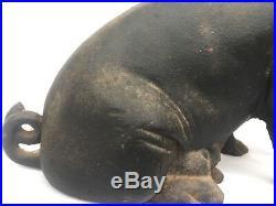 Antique Cast Iron Large Pig Coin Bank/Doorstop Piggy Bank 12 1/2 Long 8lbs, 3oz